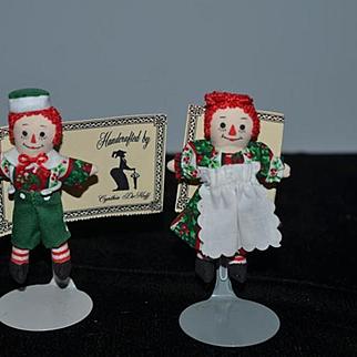 Sweet Raggedy Ann & Andy Dolls Cloth Cynthia Dehoff Pin Brooch Set Mint w/ Tag Miniature