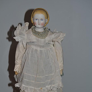 """Old Doll Parian Alice Doll 21"""" Tall Old Leather Shoes"""