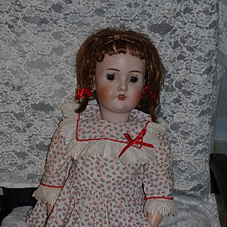 Antique Doll Large Bisque Doll Chunky Composition Body Sweet Face