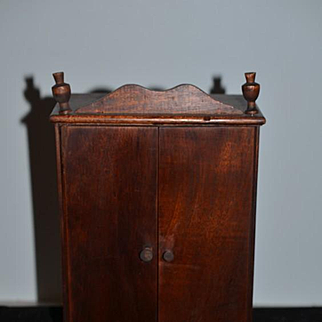 Old Wood Doll Wardrobe For  Mignonette Miniature Dolls