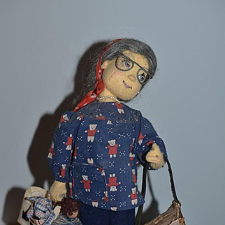 Doll Cloth Doll Felt Doll Weedidit NIADA Wee Doll Lady with Dolls and Bears