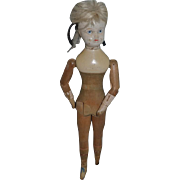 Old Doll Wood Carved Jointed Folk Art