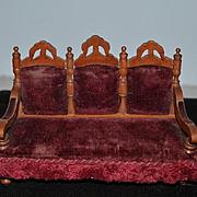 Old Doll Miniature Sofa Sette Upholstered Dollhouse