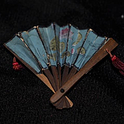 Old Doll Miniature Fan Wood W/ Painted Scene For Fashion Doll