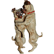 Old Miniature Dogs Dancing Cold Painted Bronze Dollhouse Doll Friends
