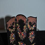 Vintage Doll Miniature Folding Screen Ornate for Dollhouse
