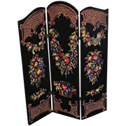 Vintage Doll Miniature Folding Screen Ornate for Dollhouse
