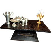 Vintage Miniature Doll House Candelabra Pewter Teaset Rug Lot German