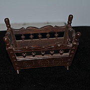 Wonderful Doll French Wood Carved Baby Cradle Bed Rocking Bed Bretagne Brittany Miniature Dollhouse