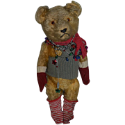 Old Teddy Bear Mohair Jointed Ready To Play!! Cabinet Size