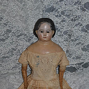 Antique Doll Pre-Greiner Papier Mache Paper Mache Glass Eyes