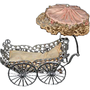 Antique Doll Miniature Metal Pram Buggy Carriage w/ Covered Shade