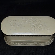 Old Doll Miniature Ornate Vanity Box W/ Design For French Fashion