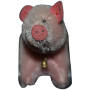Wonderful Doll Toy Miniature ELVA Mohair Pig on Wheels Signed Dated and #1