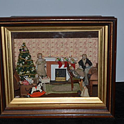 Antique Doll Miniature Diorama Dollhouse Wood Room W/ Miniature Dolls Complete W/ Furniture