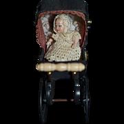 Miniature Doll and Pram Carriage by Heidi OTT Dollhouse W/ Baby