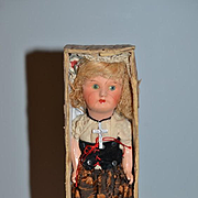 Antique Doll Cabinet Size French SFBJ in Original Box Original Clothing