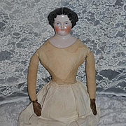 Antique Doll China Head Flat Top LARGE Pink Tint Old Leather Lace up Doll Boots Center Part