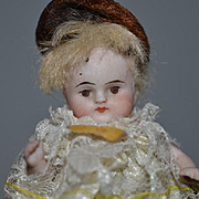Antique Doll All Bisque Miniature French Market Dollhouse Jointed Wonderful