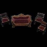 Antique Doll Miniature Dollhouse Waltershausen Sofa Chairs