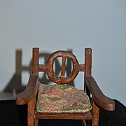 Old Doll Wood Folk Art Miniature Carved Rocker Chair For Cloth Doll Rag Doll China Head