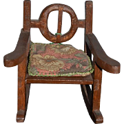 Old Doll Wood Folk Art Miniature Carved Rocker Chair For Cloth Doll Rag Doll China Head