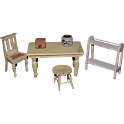 Old Wood Painted Miniature Doll Furniture Dollhouse & Accessories & One Artist Crock Carolyn Nigren Curren