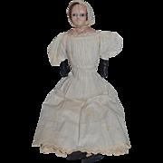 Antique Doll Wax Over Papier Mache Paper Slit Head Glass Eyes Old Clothes Folk Art