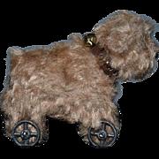 Miniature Doll Toy Ron Bufton Bear on Wheels Dollhouse Adorable