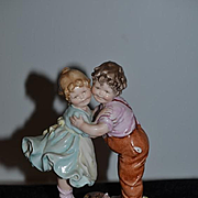 Old Figurine Doll Capodimonte Signed By Artist B. Merli Children Hugging