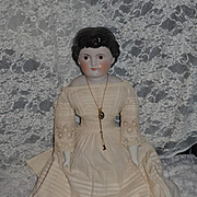 Antique Doll China Head Brown Eyes Large Doll Wonderful Clothes W/ Bangs