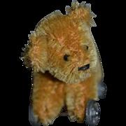 Vintage Teddy Bear on Wheels for Doll Miniature Dollhouse
