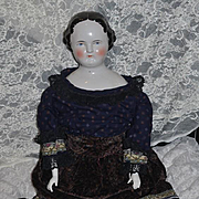 "Antique Doll China Head Flat Top Center Part HUGE Kestner 29"" TALL"