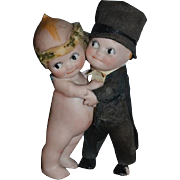 Old Doll Kewpie Bisque Bride and Groom Huggers Old Crepe Paper Clothes Rose O'Neill