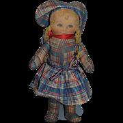 Vintage Doll Cloth Doll Rag Doll Printed Face Original Clothing