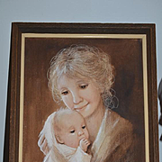 Wonderful Dianne Dengel signed Oil Painting Mother w/ Baby Framed Doll Room!!