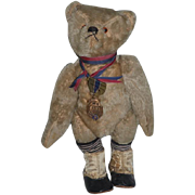 Antique Teddy Bear Mohair W/ Old Bear American Legion Award Medal Dressed TOO CUTE!