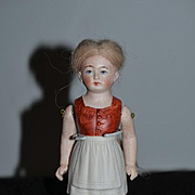 Antique Doll Miniature Dollhouse Jointed Arms Molded Clothing Unusual All Bisque Mohair wig