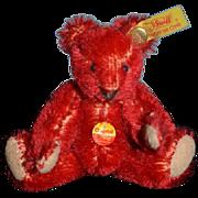 Miniature Teddy Bear Steiff RED Mohair Jointed Dollhouse Brass Button Tag