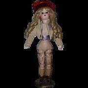Antique Doll French Rare Store Display Wonderful Unique Bisque On Original Base W/ Original Shoes