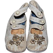 Old Doll Leather Button Up Shoes W/ Fancy Shoe Clips Child's White