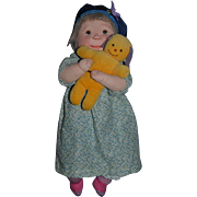 Wonderful Vintage Doll Artist Doll Dianne Dengel Cloth Doll 1977 Character Doll W/ Teddy Bear
