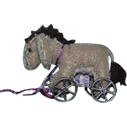 Vintage Miniature Dollhouse Doll Toy Donkey on Wheels Ride on Pull Toy By ELVA Mohair