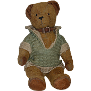 Old Teddy Bear Jointed Dressed Sweet Adorable Face