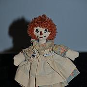 Old  Doll Raggedy Ann Miniature Signed E. FITZPATRICK  1942 Rag Doll Cloth Doll