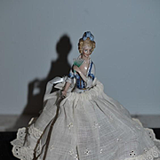 Old Doll Half Doll China Head Fancy Ornate Holding Fa German W/ Metal Skirt Arms Away