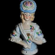 Old German China Head Half Doll Fancy Lady