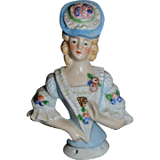 Old German China Head Half Doll Fancy Lady