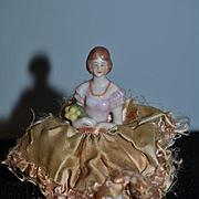 Old Doll China Head Half Doll W/ Legs Pin Cushion Miniature Pincushion