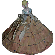 Wonderful Old Half Doll China Head on Wire Skirt Gorgeous